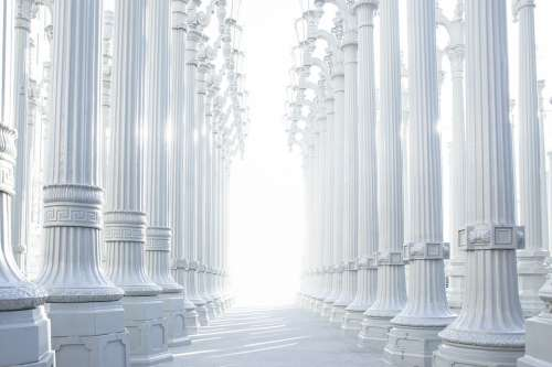 Columns Hallway Architecture Greek Ancient