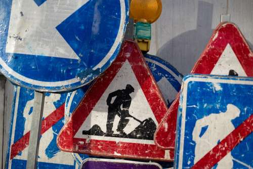 Construction Work Worker Maintenance Site Sign