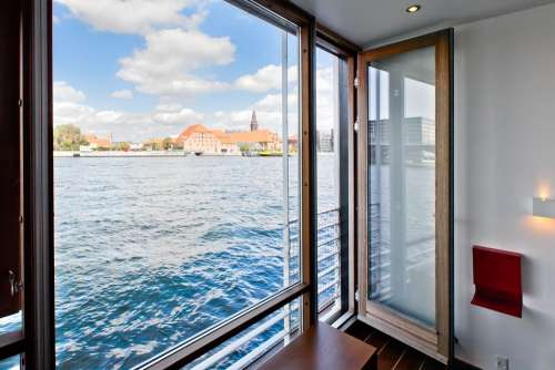 Copenhagen Houseboat Port Water Blue Modern