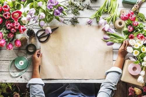 Copy Space Craft Florist Floral Paper Hands Empty
