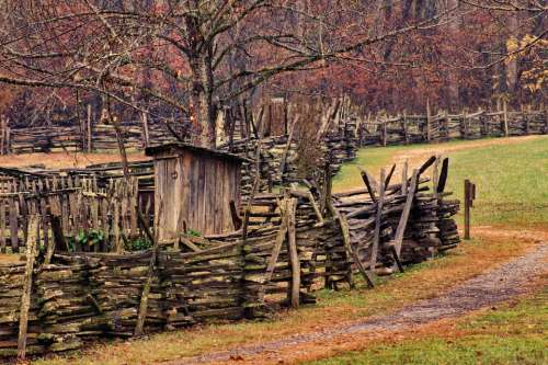 Country Fence Rural Farm Nature Wooden Landscape