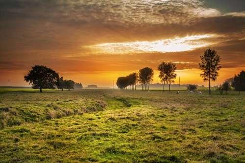 Countryside Twilight Sunset Dusk Dawn Landscape