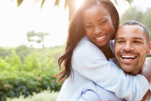 Couple African Happy Man Woman Together Happiness