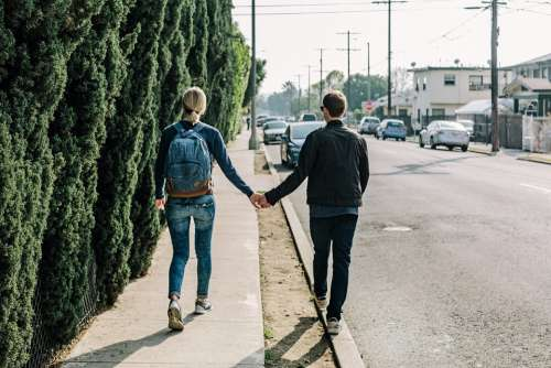 Couple Holding Hands Walking Love