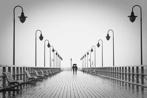 Couple Jetty Walk Man Boardwalk Sea Ocean People