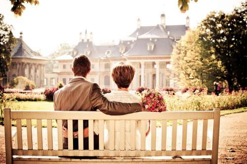 Couple Bride Love Wedding Bench Rest