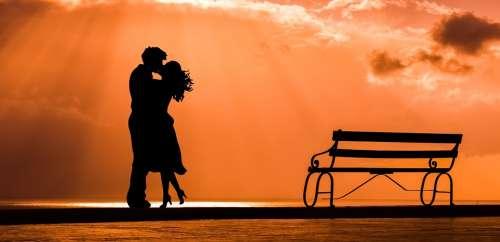 Couple Romance Love Kiss Lovers Bench Sunset