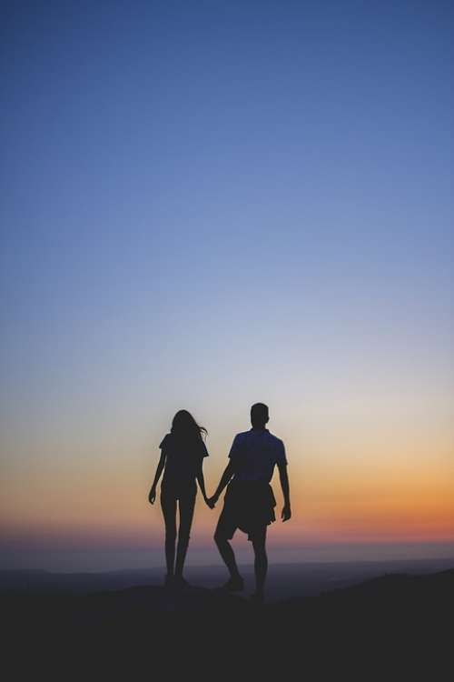 Couple Man Woman Two Together Holding Hands Top