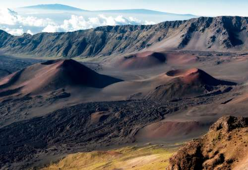 Crater Volcano Hawaii Haleakala Crater Landscape