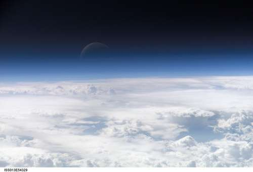 Crescent Moon Blue Spaceview Night Space Earth