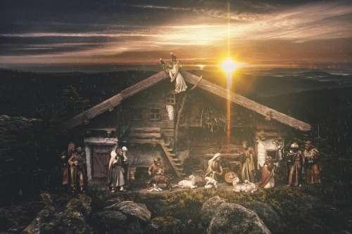 Crib Child Christmas Bavaria Nativity Scene