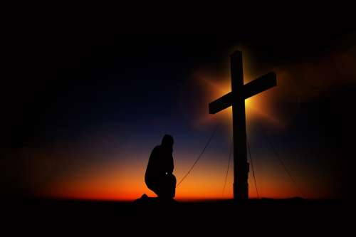 Cross Sunset Humility Devotion Silhouette Human