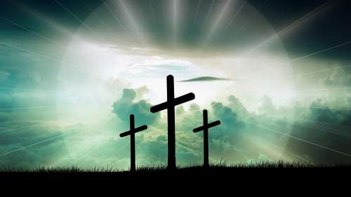 Cross Christ Faith God Jesus Clouds Sun Light