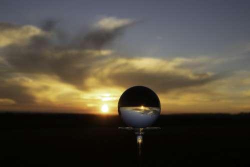 Crystal Ball Sunset Clouds Horizon