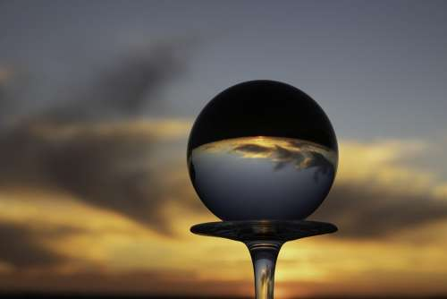 Crystal Ball Wine Glass Sunset