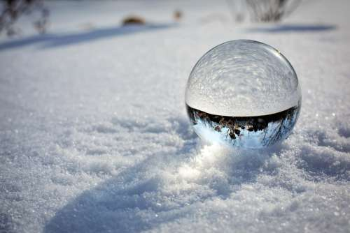 Crystal Ball Snow Winter Snowy Sunrise Magic