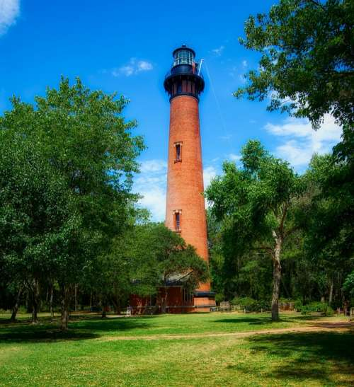 Currituck Lighthouse Landmark Historic Nautical Hdr
