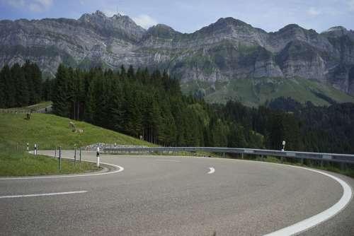 Curves Road Landscape Alpine Mountains Route