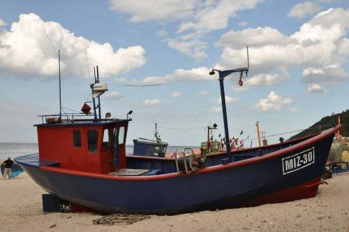 Cutter A Fishing Vessel Sea The Coast Beach Poland