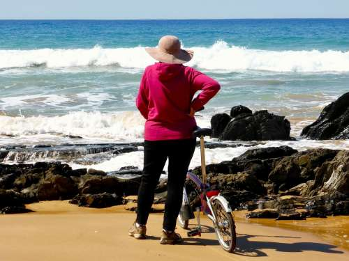 Cyclist View Surf Bicyclist Outlook Coast Sand