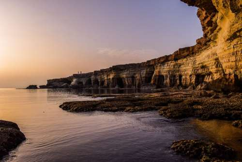 Cyprus Coast Cliff Cavo Greko National Park Sunset