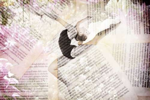 Dancer Ballet Flowers Book Pages Words Happy