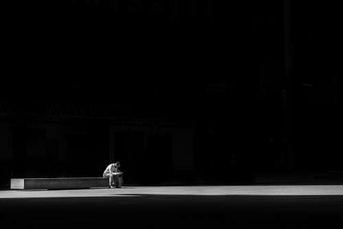 Dark Light Man Person Sitting Alone Solitude