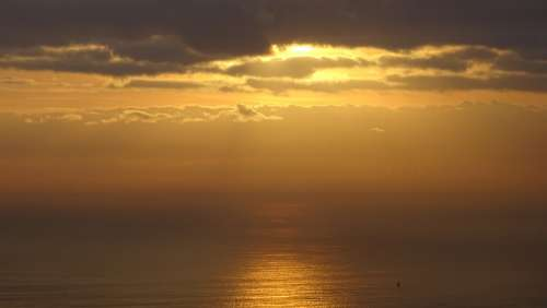 Dawn Clouds Sea Sky Landscape Horizon