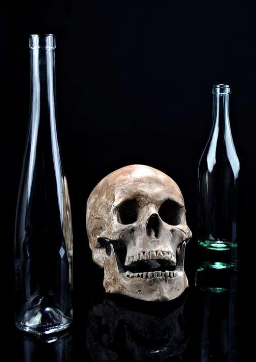 Death Skull Glass Dark Composition Bottle Black