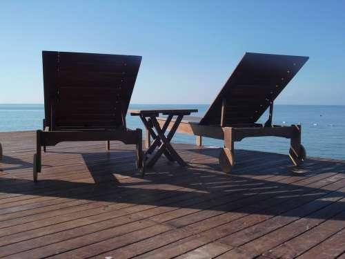 Deck Chair Relax Sea Turkey Vacations Ocean Beach