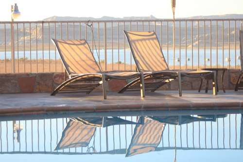 Deckchairs Mirror Image Leisure Reflection Pool