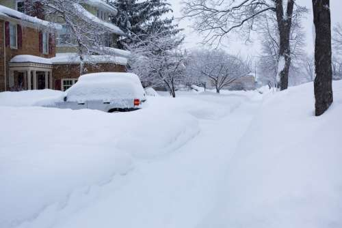 Deep Snow Winter Michigan Car Snowy Street Covered