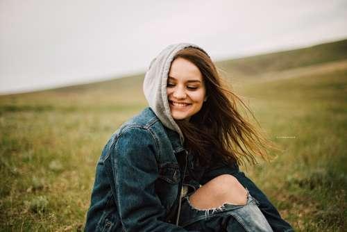 Denim Grass Happy Model Person Woman Leisure