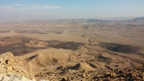 Desert Crater Negev Israel Landscape Canyon