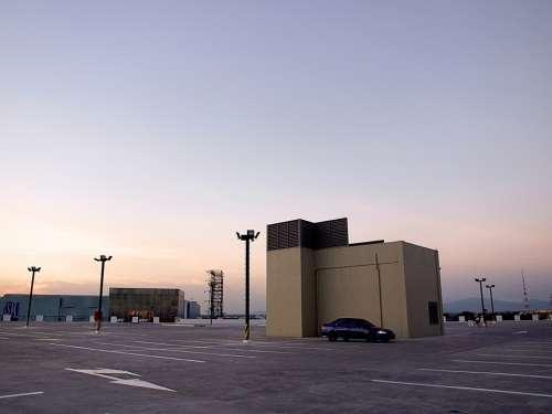 Deserted Alone Parking Empty Sky Lot