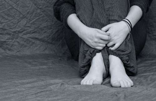 Desperate Sad Depressed Feet Hands Folded