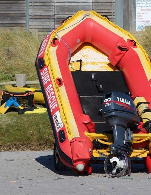 Dinghy Powerboat Lifeboat Beach Sea Ocean
