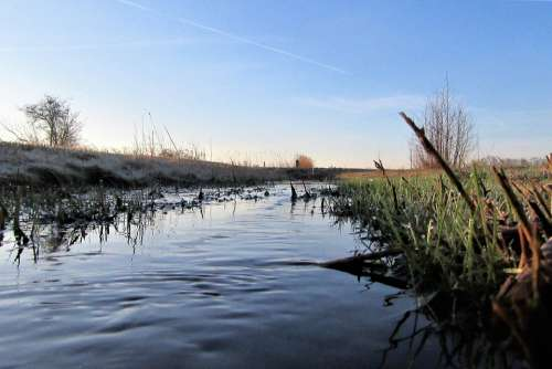 Ditch Flow Landscape Water Reflection Nature