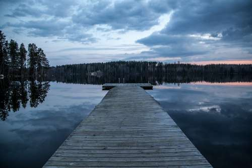 Dock Lake Finland Dark Evening Water Nature Blue