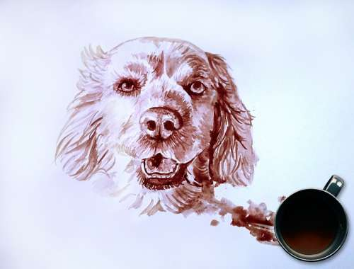 Dog Portrait Coffee Painting Painting Dog Lovers