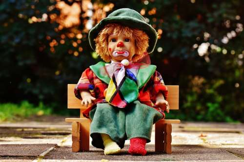 Doll Clown Sad Bank Sit Colorful Sweet Funny