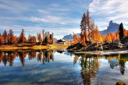 Dolomites Mountains Italy Alpine Nature Lake