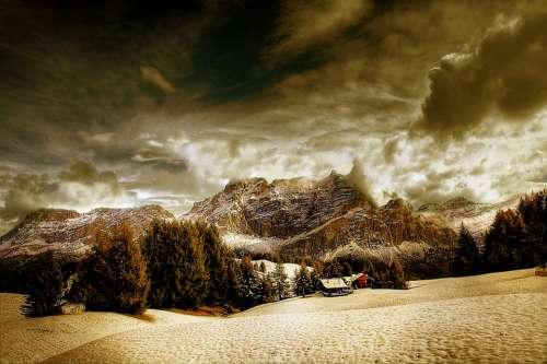 Dolomites Conturines Alm Nature Blue