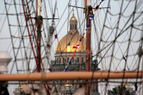Dome Of The Cathedral Mast Evening Seaport Port