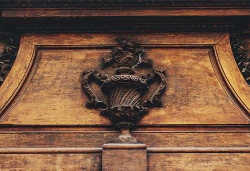 Door Mantle Relief Wooden Emblem French Design