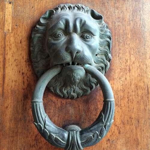 Doorknocker Lion Door Bronze