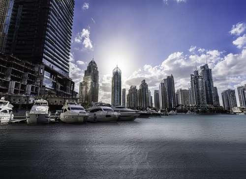 Dubai Marina Architecture Modern Tower Travel Sky