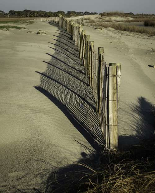 Dunes Fence Shadow Beach Nature Shore