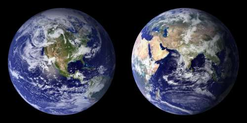 Earth Planet Front Side Back Continents Globe