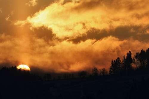 East The Sun Sunrise Landscape In The Morning
